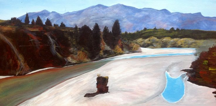 Painting of Shotover River in Queenstown.