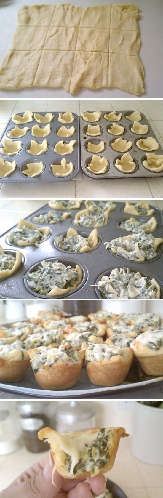 Spinach & Artichoke bites! Prepared pastry, rolled out and cut into squares as shown. Packet of Tastefully Simple Artichoke & Spinach mix...made as directed. Put pastry squares in mini muffin tin. Fill pastry with dollops of dip. Bake at 375 for about 12-15 minutes..til pastry is golden.