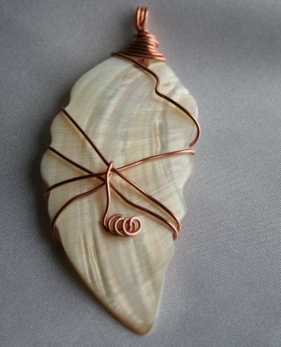 wire shell jewelry | ... Copper Wire Wrapped Shell Pendant | 123gemstones - Jewelry on ArtFire