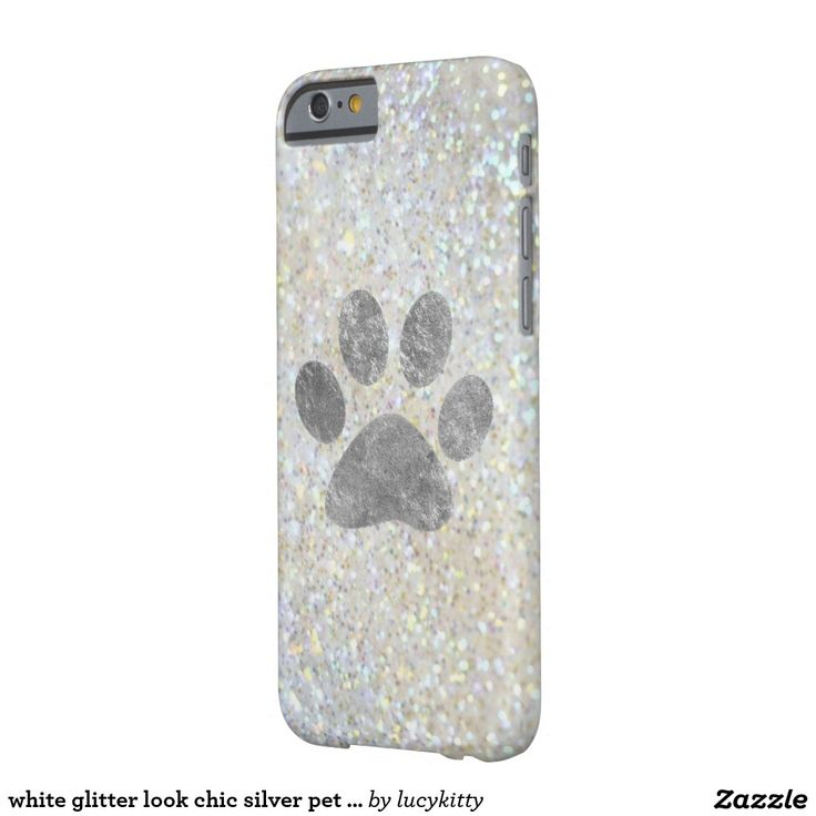 white glitter look chic silver pet paw print barely there iPhone 6 case