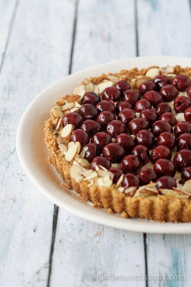 This is perfect for Memorial Day! Morello Cherry Almond Tart @Liren Baker | Kitchen Confidante