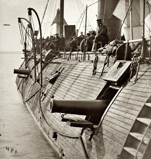 """1862. On the James River in Virginia. """"Effect of Confederate shot on Federal ironclad Galena."""