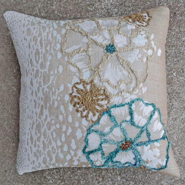 Jenna-Blue 20x20 Embroidered Pillow [#2088] Goemdee