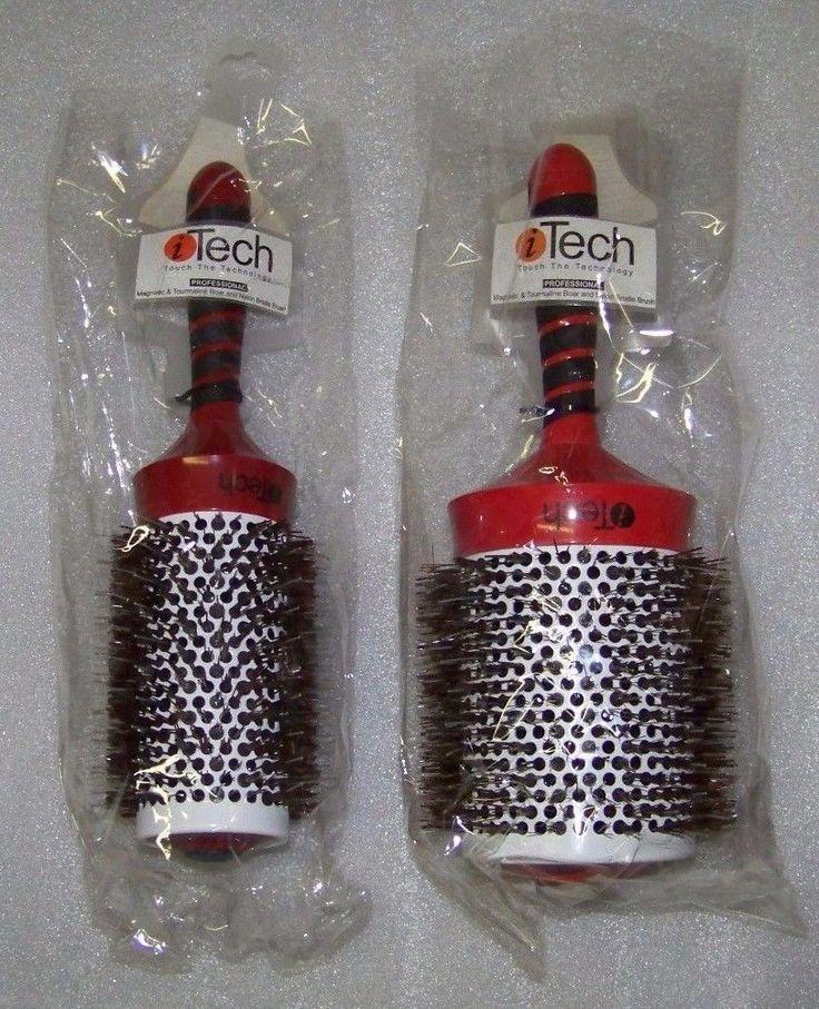 "Itech 4 1/8"", 3 1/4""  Ionic/Magnetic/Tourmaline Boar Bristle Hair Brush SET #ITech"