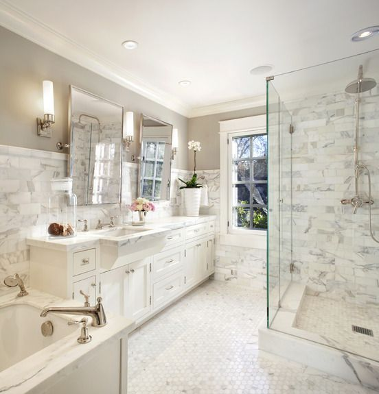 white marble bathroom by scavullo design interiors