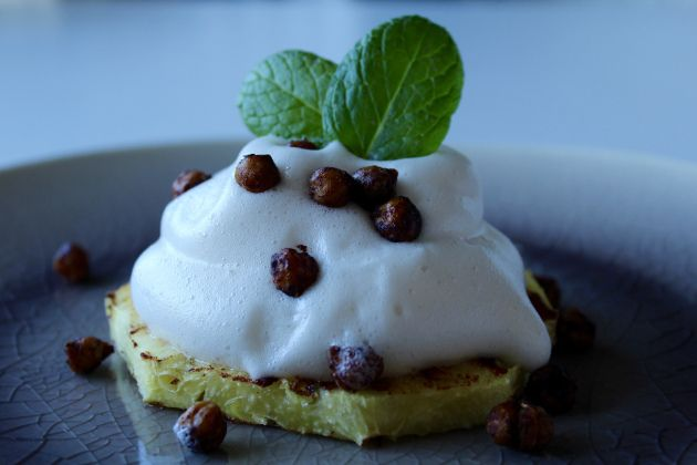 Grilled Pineapple with Aquafaba Whipped Cream and Candied Chickpeas