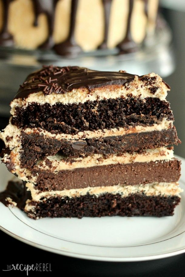 Ultimate Chocolate Peanut Butter Cake: two fudgy chocolate cake layer ...