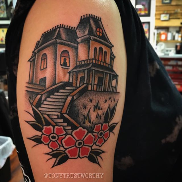 Psycho house made tonight for the awesome @kansbobans Thank you for making the trip to get tattooed today, Kansas! #batesmotel #psycho  #normanbates #hitchcock #alfredhitchcock