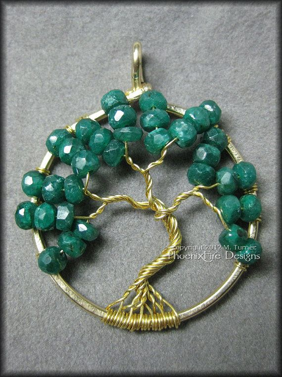 May Tree  14k Gold Emerald Tree of Life by PhoenixFireDesigns