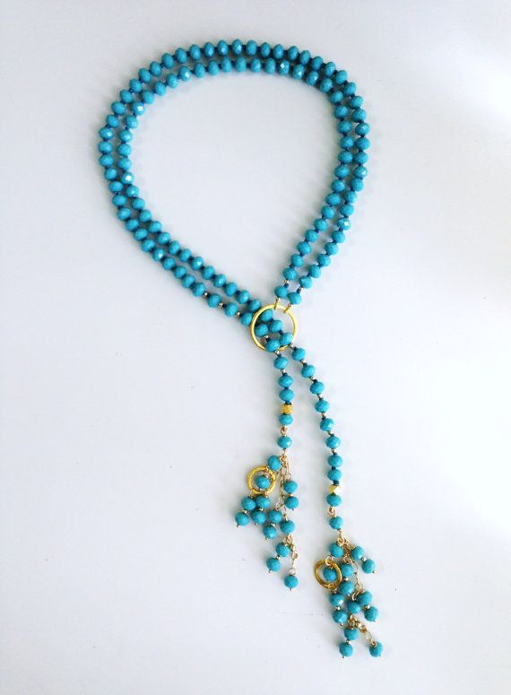 Double lariat in crystals and brushed gold by etniaccessories