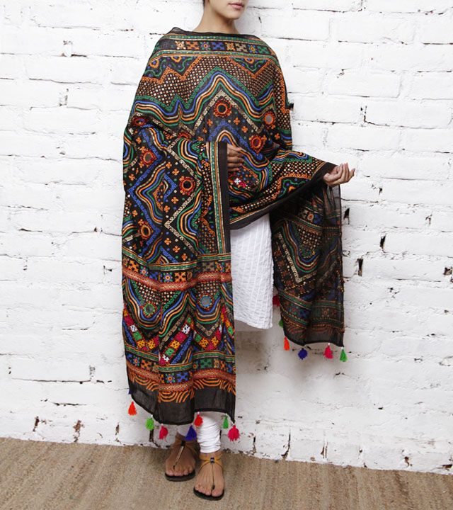 Black Cotton Dupatta with Kutch Embroidery