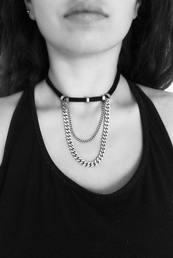 fabric choker necklace black choker necklace double by NULIKA
