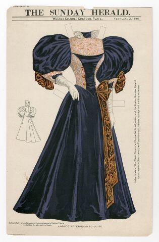 Бумажные куклы, ретро платье для выхода к обеду-1895