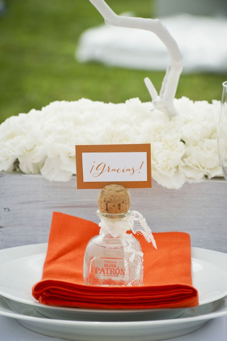 Mini tequila bottle as a favor and placecard- great idea!! // photo by aislinnkate.com