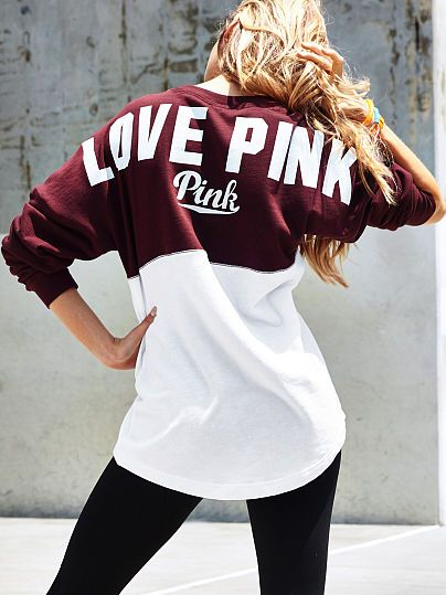 Varsity Crew PINK SC-341-857 (051) This classic crew is super comfy thanks to an oversized fit and longer, tunic length. Must-have sweats by Victoria's Secret PINK. Oversized Our lightest French Terry Longer, tunic length Imported cotton/polyester