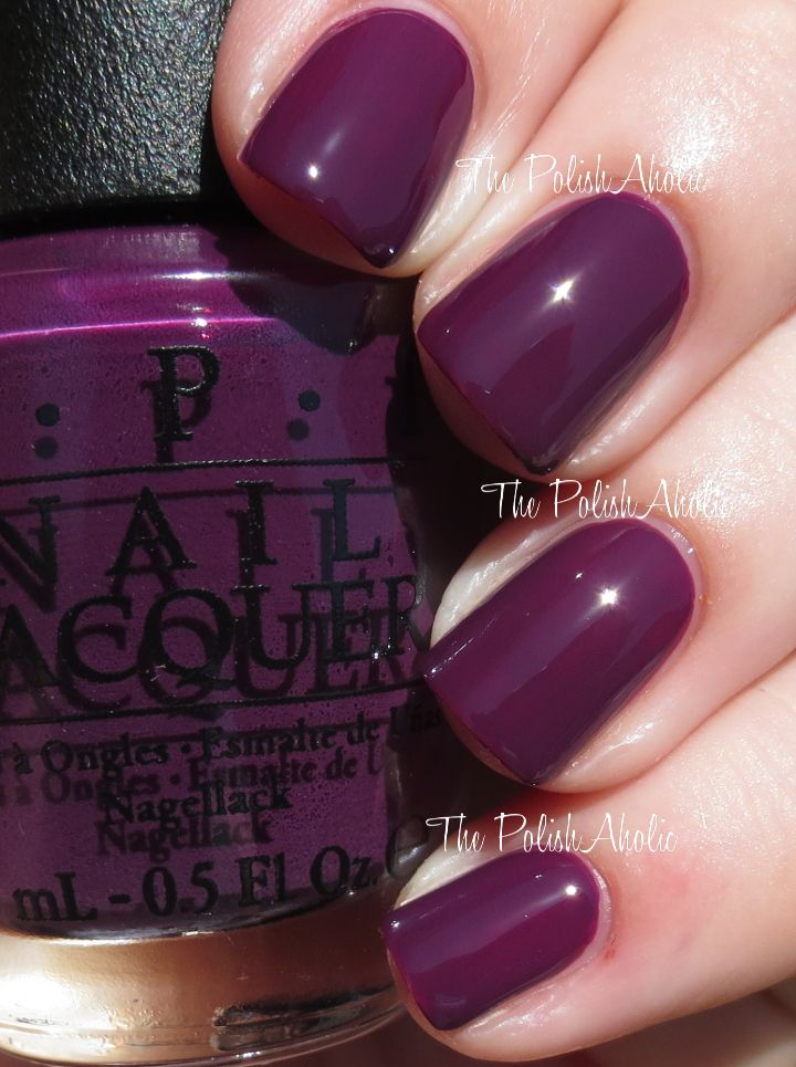 "OPI's ""Skating on thin Ice-land"" from its Fall 2014 Nordic Collection. Wow! Pretty,  dark cherry with deep plum undertones."