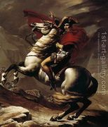Bonaparte, Calm on a Fiery Steed, Crossing the Alps 1801  by Jacques Louis David