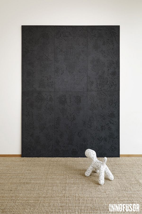 Gran Ru Pori acoustic wall art in an impressive all black color. See more at www.granru.com #Scandinavian #Design #Innofusor #Acoustics