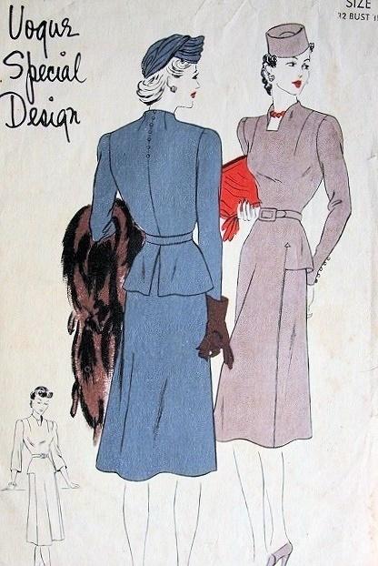 1940s VOGUE SPECIAL DESIGN DRESS PATTERN 4171 UNIQUE PEPLUM BACKSTYLE, WIDE FRONT SKIRT PANEL, BUILT UP NECKLINE, STRIKING DESIGN