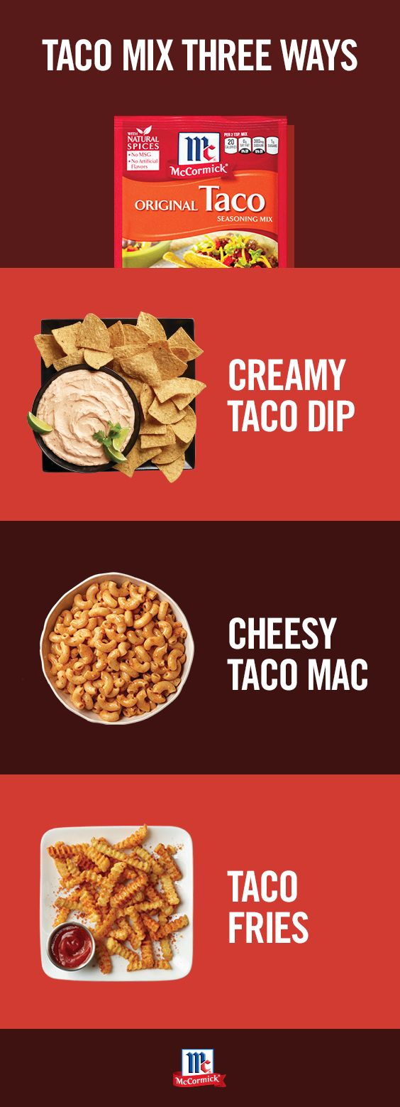 Taco Seasoning is for more than just tacos. Make easy snacks and side dishes like Taco Dip with Greek yogurt, Taco Mac and Cheese and Taco Fries. Click through for more tasty few ingredient recipes.