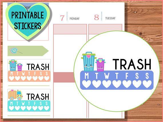 Trash Day printable planner stickers, MAMBI, Kikki K, erin condren, happy planner, plum paper, chores, cleaning, garbage