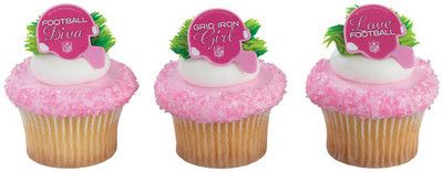 NFL Pink Helmet Shaped Rings for Cupcakes