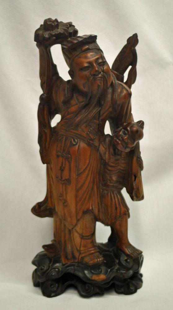 Antique Chinese Hand Carved Wooden Bamboo Statue Immortal