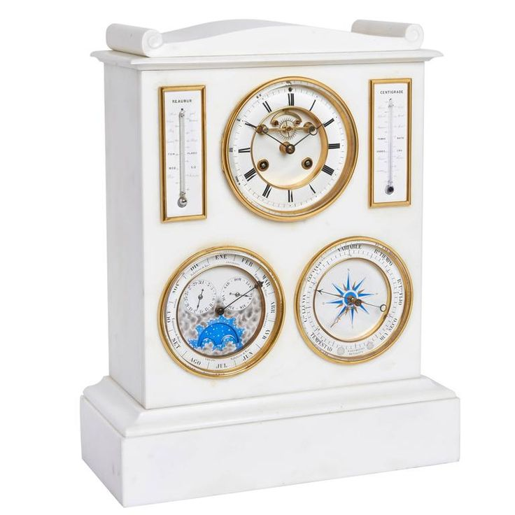 white marble mantel clock barometer thermometer and lunar scale by bourdon