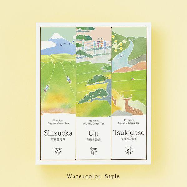 "Premium organic green tea ""Crisp and Refreshing"" Shizuoka Sencha (50g) Uji Sencha (50g) Tsukigase Houjicha (30g) SAUDADE TEA"