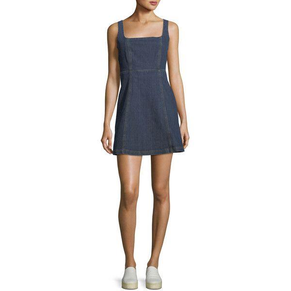 Alexa Chung Square-Neck Sleeveless Cutout Denim Mini Dress (1 435 PLN) ❤ liked on Polyvore featuring dresses, sleeveless denim dress, cut out mini dress, cutout dresses, sleeveless dress and denim dresses