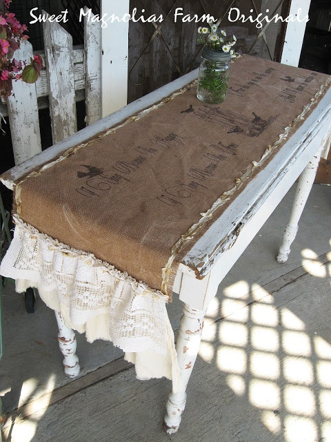 Stenciled Burlap Table Runner With Lace Ruffles