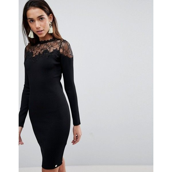 Lipsy Bodycon Dress With Mesh Lace Upper ($105) ❤ liked on Polyvore featuring dresses, black, mesh bodycon dresses, floral bodycon dresses, floral print dress, lace bodycon dress and bodycon cocktail dresses