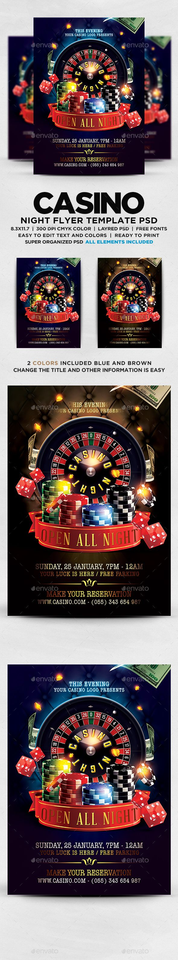 Casino Flyer — Photoshop PSD #neon #casino night • Available here → https://graphicriver.net/item/casino-flyer/19240073?ref=pxcr