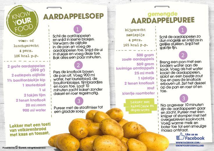 Aardappelsoep en gemengde aardappelpuree
