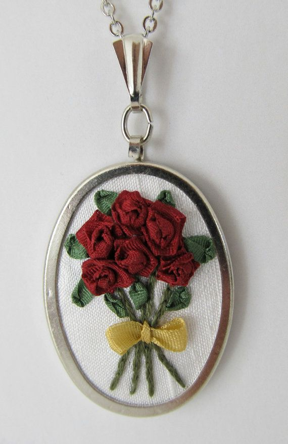 Red Roses Silk Ribbon Embroidery Pendant  On by LadyLexiDesigns, $18.00