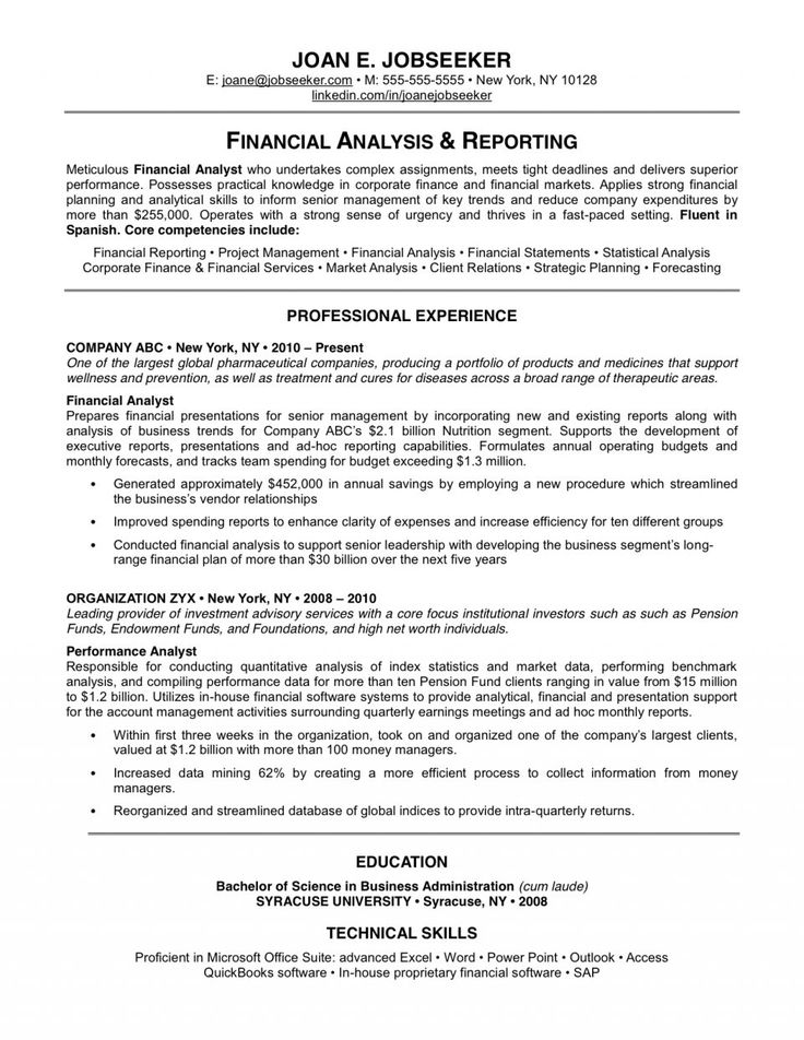 Best 25+ Good resume examples ideas on Pinterest Good resume - sample financial analyst resume