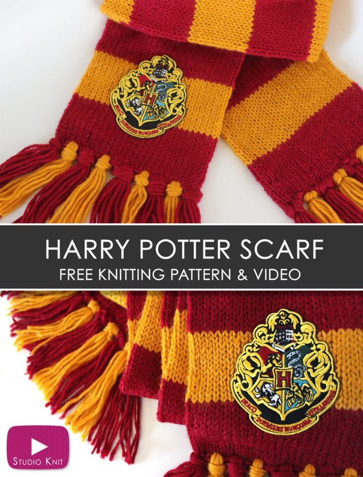 How to Knit a Harry Potter Gryffindor Scarf with Studio Knit   Free Knitting Pattern