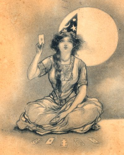vintage witch halloween postcard fortune teller