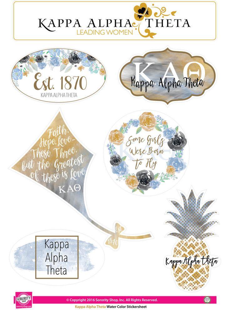 Kappa Alpha Theta Sorority Stickers- Water Color - Brothers and Sisters' Greek Store