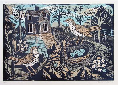 """Thrushes' Nest"" by Mark Hearld. Editioned at the Penfold Press (linocut)"