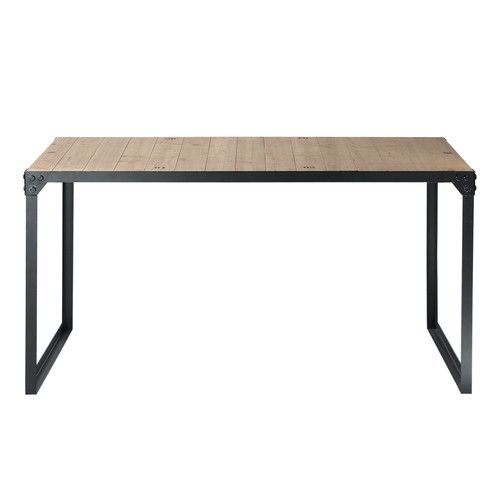 Wood and metal industrial dining table W 140cm