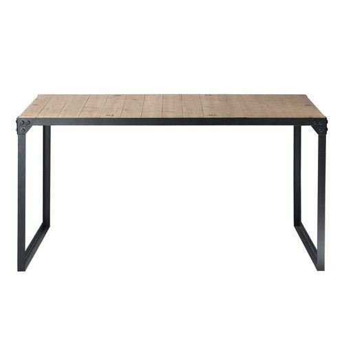 Tavolo stile industriale per sala da pranzo in legno e metallo L 140 cm