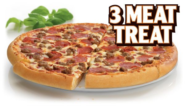 https://www.facebook.com/photo.php?fbid=218755148303861. Little Caesars Menu ¨3 Meat Treat Pizza¨ Our original round pizza topped with pepperoni, Italian sausage and bacon. http://littlecaesarscoupons.net/