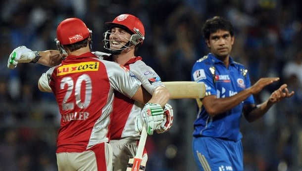 Shaun Marsh hit an unbeaten 68 off 40 balls as Kings XI Punjab defeated Mumbai Indians by six wickets Sunday in Sachin Tendulkar's comeback match in the Indian Premier League.