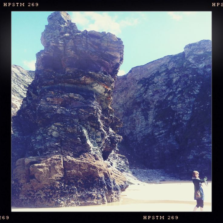 A huge piece of granite on the beach at Watergate Beach and Sara getting a snap in the other direction.