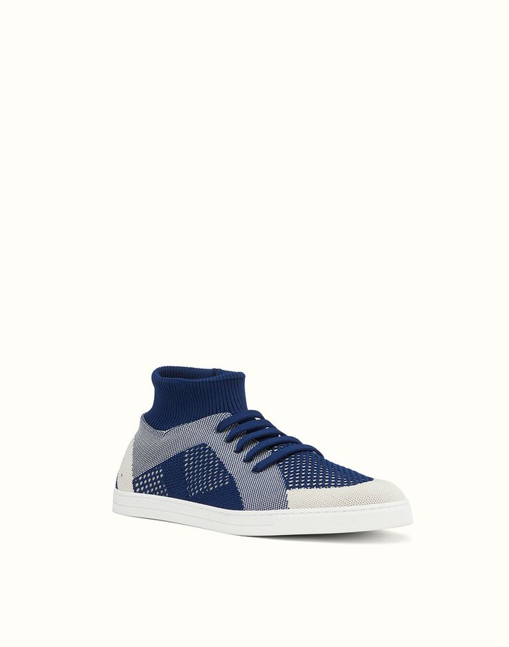 FENDI SNEAKERS - Blue and white knit slip-ons