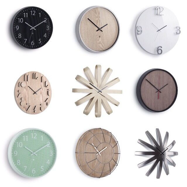 Decorate with clocks (and always know the time).  Photo credit: @inwiab                              Products: Perftime black designed by Alan Wisniewski; Madera natural designed by Alan Wisniewski; Elapse white designed by Alan Wisniewski; Shadow designed by Alan Wisniewski; Ribbonwood designed by Michelle Ivankovic; Madera designed by Perftime mint designed by Alan Wisneiwski; Cage designed by Alan Wisniewski; Burst designed by Jordan Murphy