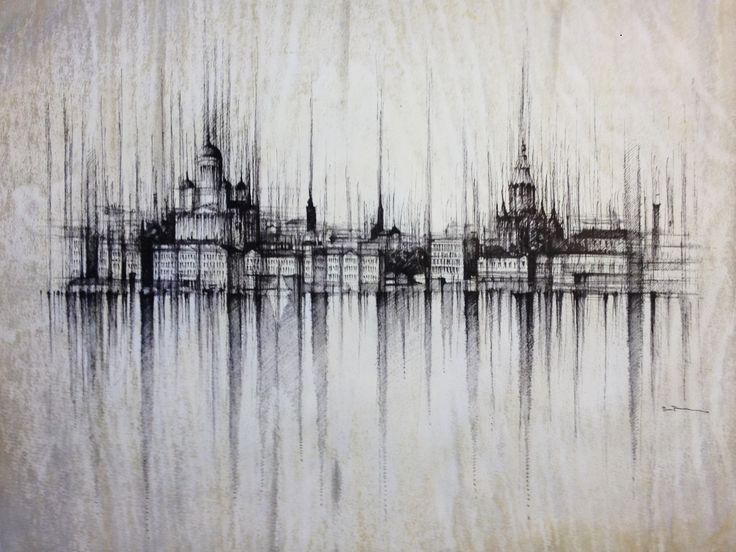 HELSINKI PANORAMA- Finland  Drawing on paper, 40x30cm, framed 55x45cm,ink and water  © Pavel Filgas 2016   #helsinki #artists #kresba #world #amazing #drawing #draw #pen #sketch #art #pavelfilgas #panorama #finland #love #art #ilustration #creativity #graphic #city #iblackwork #artlovers #citydrawing