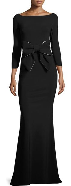 "Brest 3/4-Sleeve Stretch Jersey Gown by La Petite Robe di Chiara Boni. La Petite Robe di Chiara Boni ""Brest"" evening gown in stretch jersey. Bow detail at center front. Bateau neckline. Th..."