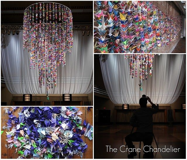 Paper crane chandelier. I will make this for my house.
